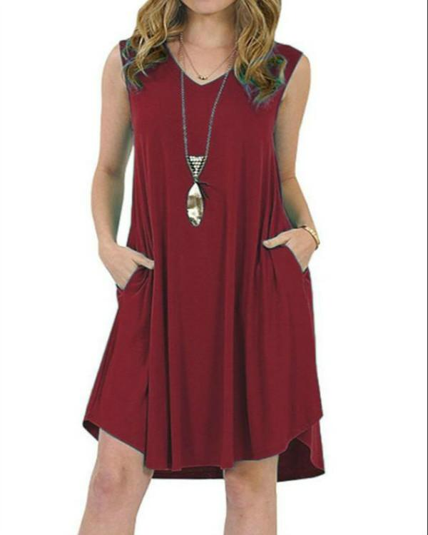 7 Colors Plus Size Summer Casual V-neck Sleeveless V-neck T-Shirt Dress With Pockets herhershoes