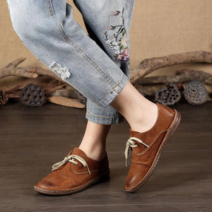 Simple Lace-up Handmade Retro Elegant Loafers herhershoes