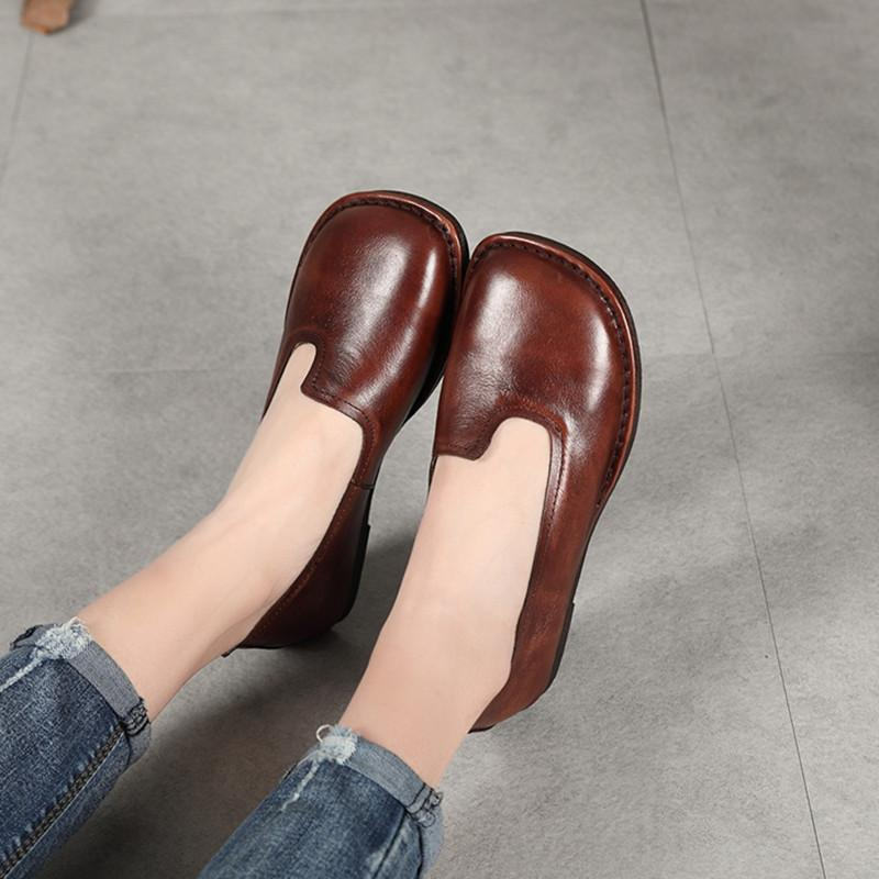 Round Toe Irregular Brown Loafers Handmade Shoes herhershoes