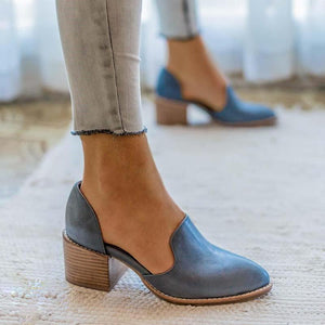 Women Spring Chunky Heel Casual Loafers Slip On Shoes herhershoes
