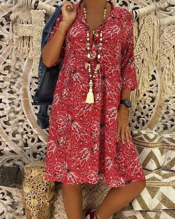 V Collar Floral Printed Loose Vacation Plus Size Dress herhershoes