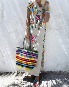 Vintage Print V-Neck Short Sleeve Bohemian Tassel Dress herhershoes