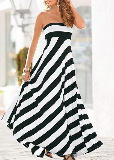 Adicolo - Strapless Striped Dress herhershoes