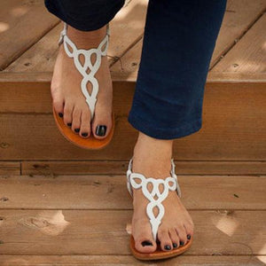 Plus Size Daily Sandals Hollow-out Flat Sandals with Buckle herhershoes