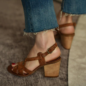 Chunky Heel Sandals Women Leather Sandals herhershoes