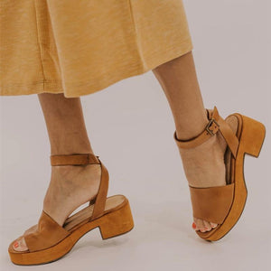 Women Peep Toe Magic Tape Wedges Crossed Sandals herhershoes