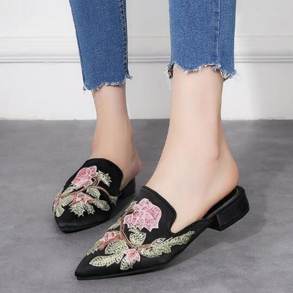 Women Muller Embroidery Flowers Cloth Pointed Closed Toe Sandals herhershoes