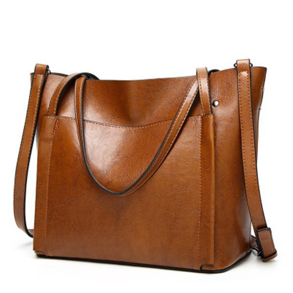 Large Capacity PU Leather Shoulder Bag Casual Style herhershoes