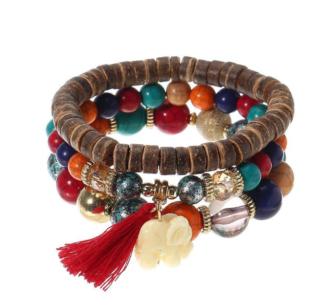 3 Pcs/set Bohemian Multilayer Beads Bracelet Wood Elastic Bracelet with Tassel Pendant Gift for Her herhershoes