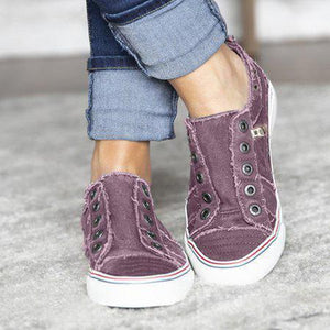 Women Zipper Daily Canvas Slip-on Athletic Sneakers herhershoes