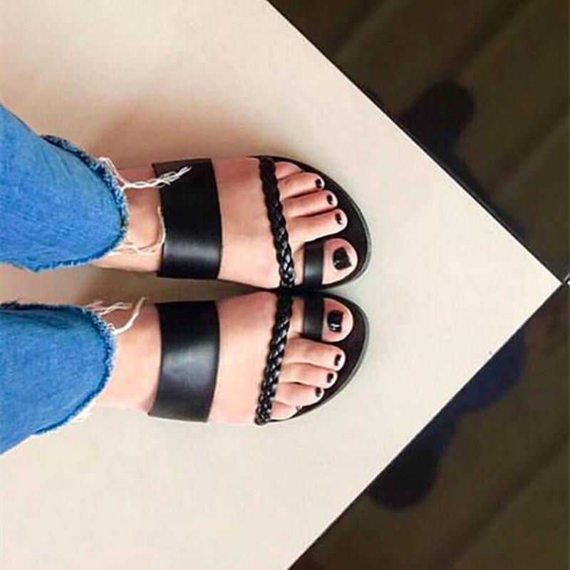Women Summer Plain Flat Peep Toe Casual Flat Heel Slip on Sandals herhershoes