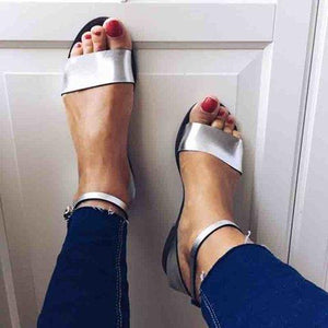 Women PU Sandals Casual Adjustable Buckle Shoes herhershoes