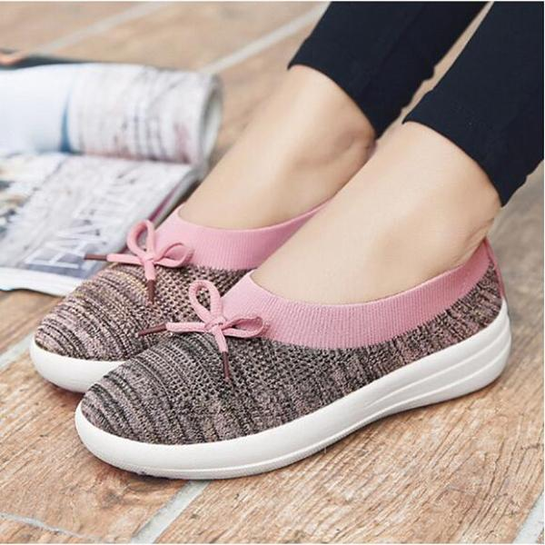 Color Block Flat Round Toe Casual Sneakers herhershoes