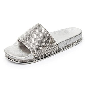 Flip Flop Slip-On Rhinestone Flat With Casual PU Slippers herhershoes