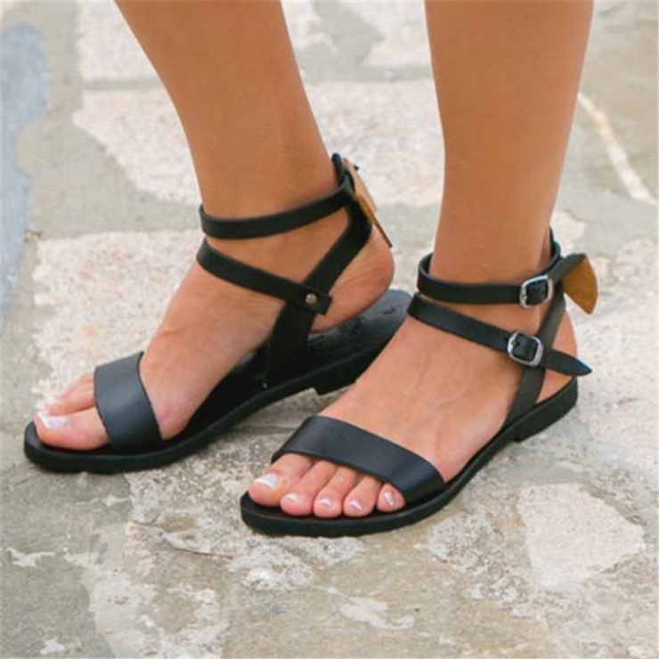 Fashion Flat Openwork Buckle Sandals herhershoes