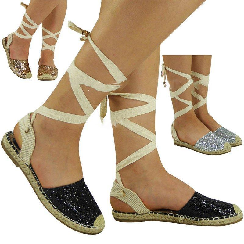 Women's Glitter Casual Lace-Up Slingback Summer Sandals herhershoes