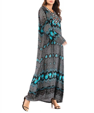 Comfortable V Collar Printed Embroidery Decorated Vacation Dress herhershoes