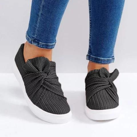 Large Size Women Knitted Twist Pink Slip On Sneakers herhershoes
