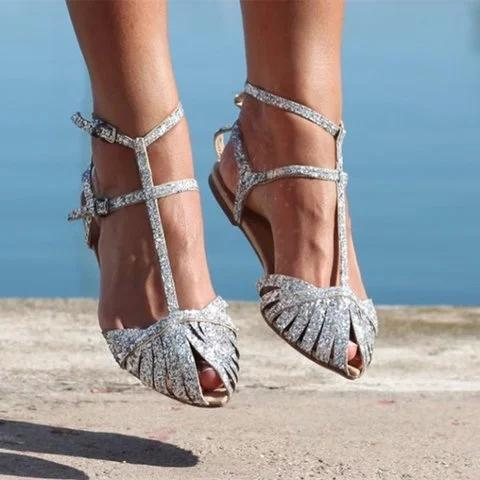 Women Shiny Gladiator Sandals Flat Heel Shoes herhershoes