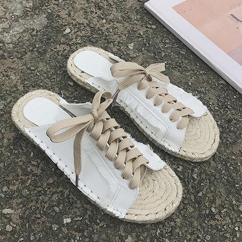 Sequins Lace-Up Espadrille Casual Flat Sandals herhershoes