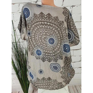 Abstract Printed Round Neck Short Sleeve Blouses herhershoes
