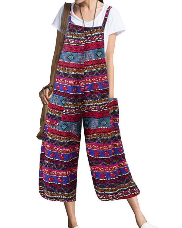 Bohemian Strap Printed Plus Size Jumpsuits herhershoes