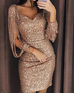 Women Sequined Tassel Long Sleeve V-Neck Party Dress herhershoes
