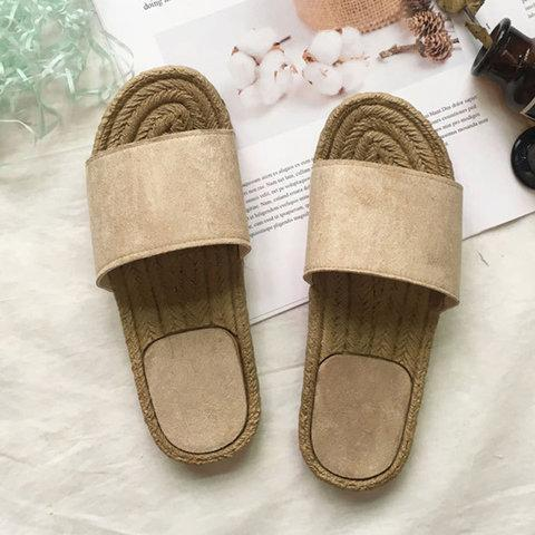 Women Holiday Casual Comfy Straw Slippers herhershoes