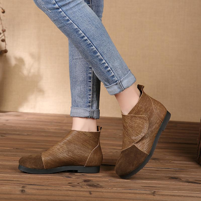Round Toe Leather Adjustable Flat Booties herhershoes