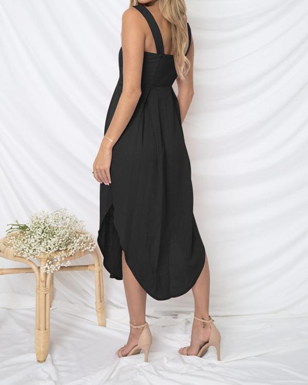 Women Casual Sleeveless Strapless Button Sling Dress herhershoes