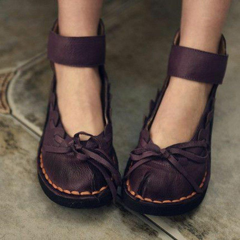 Womens Vintage Pu Casual Flat Heel Shoes herhershoes
