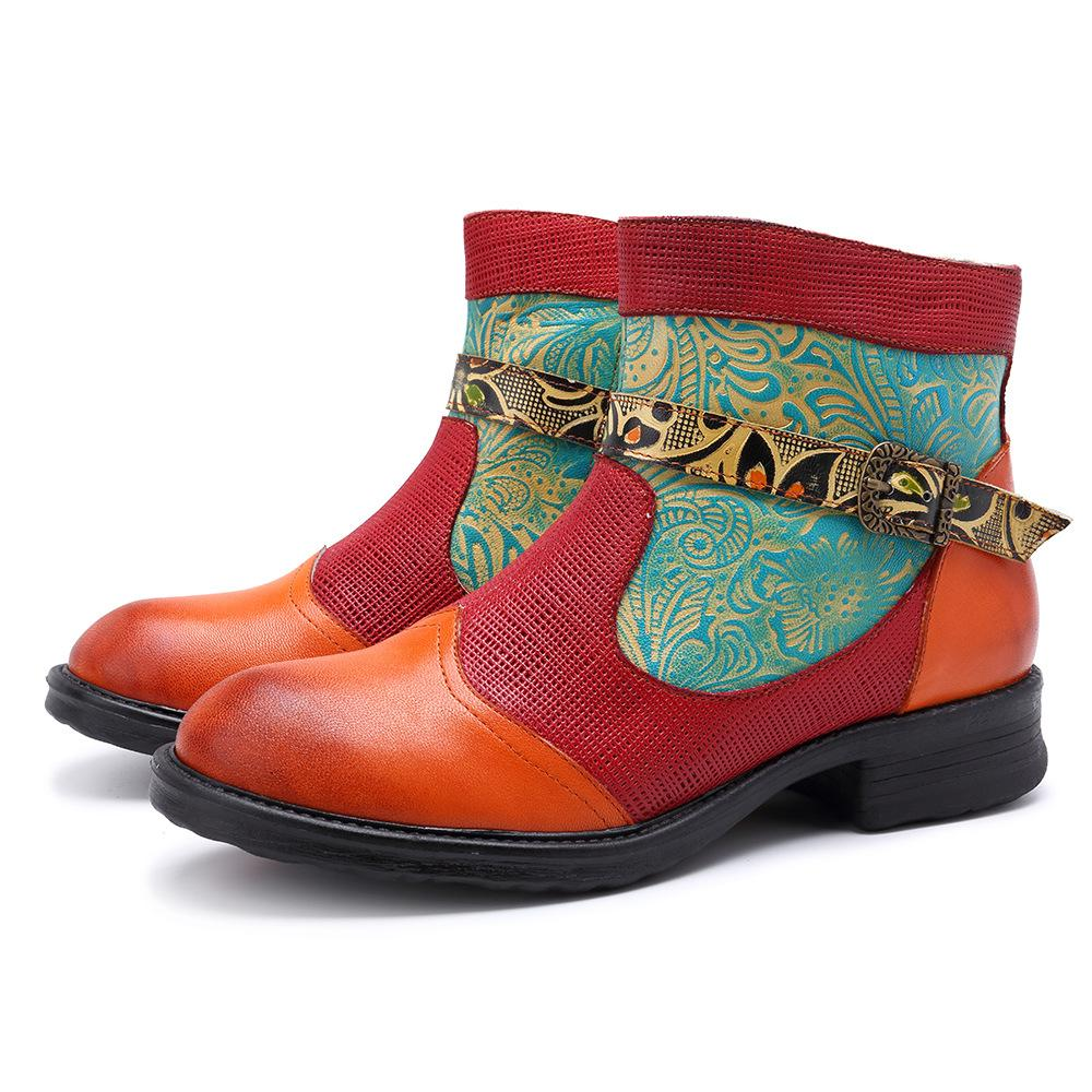 Women Daily Vintage Leather Zipper Plant Textures Boots herhershoes