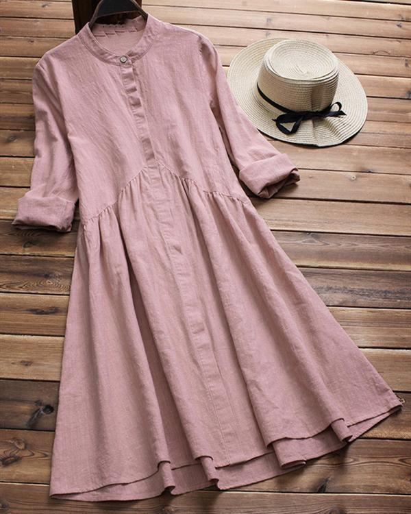 Stand Collar Pleated Solid Color Long Sleeve Vintage Dresses herhershoes