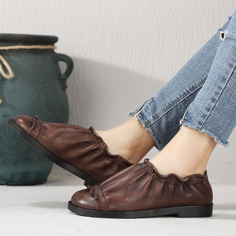 Vintage Leahter Brown Flexible Ruffle Loafers herhershoes