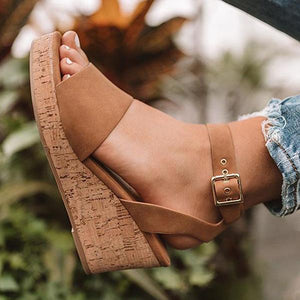 Fashion Adjustable Buckle Wedge Sandals herhershoes