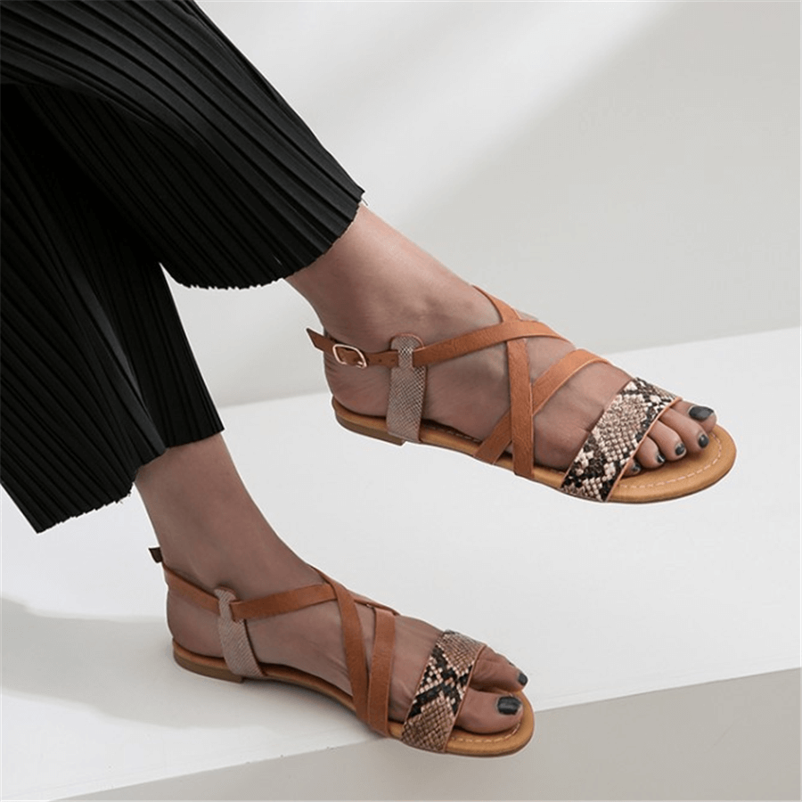 Fashion Simple Buckle With Flat Sandals herhershoes