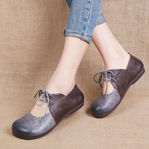 Flat Soft Handmade Lace Up Lady Loafers herhershoes
