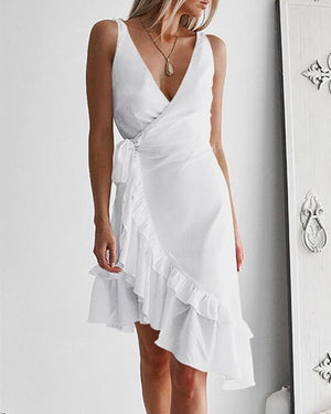 Women's Sexy Tie Shoulder Sun Dress herhershoes