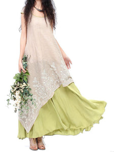 Vintage Floral Embroidered Sleeveless Two Layers Long Maxi Dresses herhershoes