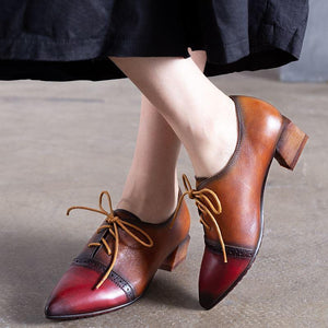 Women Color Mixing Oxford Lace-up Boots herhershoes