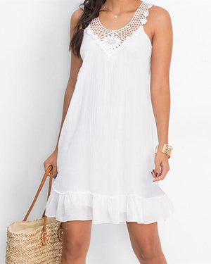 Summer Solid Lace Stitching Backless Ruffled Mini Dress herhershoes