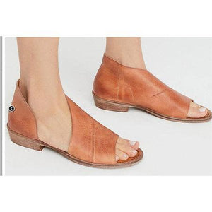 Sexy Side Open Casual Solid Open Toe PU Leather Sandals herhershoes