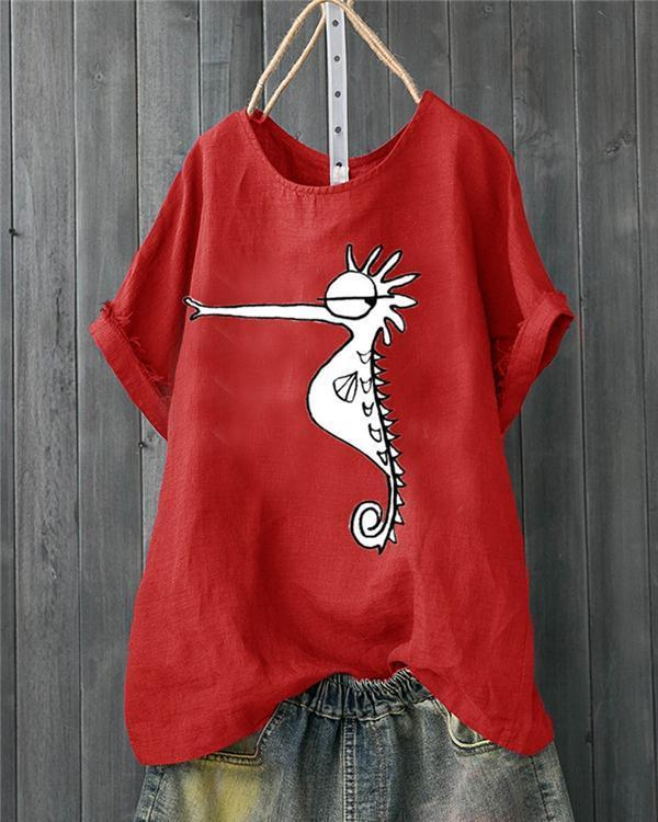 Animals Printed Short Sleeve Casual Cotton T-Shirt herhershoes
