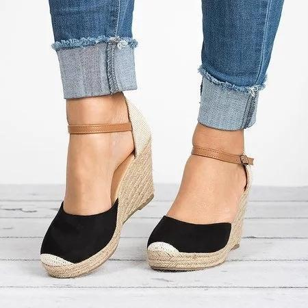 Plus Size Wedges Ankle Strap Espadrilles Wedges Sandals herhershoes