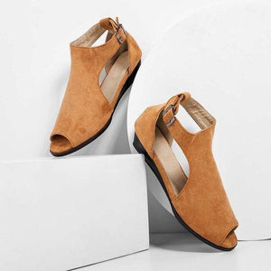 Women Plus Size Wedges Ankle Strap Peep Toe Wedge Sandals herhershoes