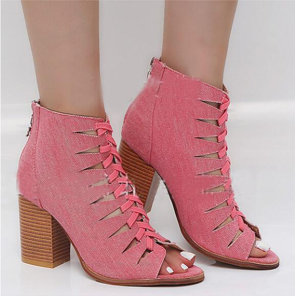 Hollow Out Chunky High Heeled Denim Criss Cross Peep Toe Date Sandals herhershoes