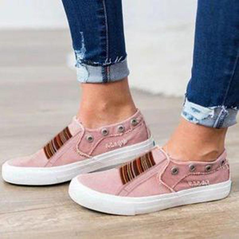 Women Closed Toe Flat Heel Sneakers herhershoes