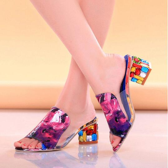 Colorful Crystal Mid Heel Transparent Jelly Casual Slippers herhershoes