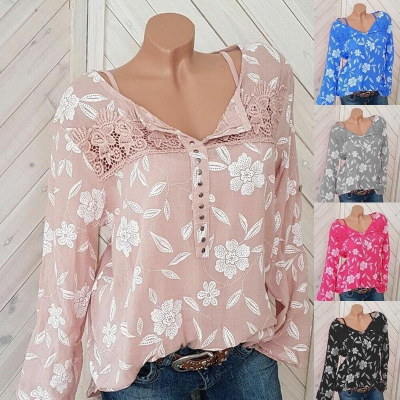 Crochet Lace Patchwork Floral Casual Blouse For Women herhershoes