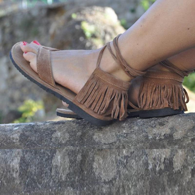 Simple Tassel Zipper Sandals herhershoes